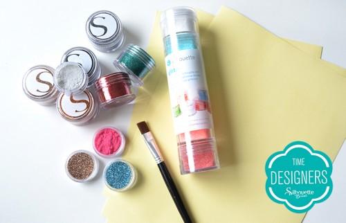 Material para Artesanato: Kits Iniciais da Silhouette glitter e fita dupla face
