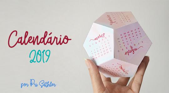 Calendário personalizado 2019 - molde grátis