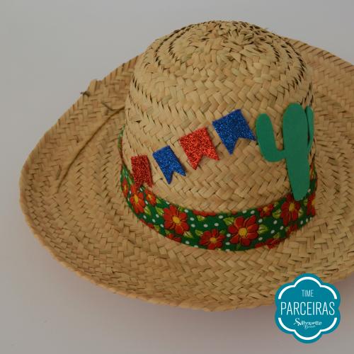 Bandeirinhas Coladas - Chapéu de Palha Personalizado - Diy Festa Julina