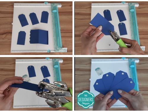 Furando tags e aplicando ilhós na Crop a Dile - Como Fazer Vinco: DIY Mini Álbum de Scrapbook