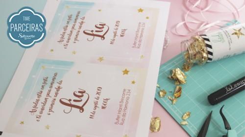 DIY Convite de Aniversário Infantil - C/ Efeito Metalizado - Material com o Shape Impresso