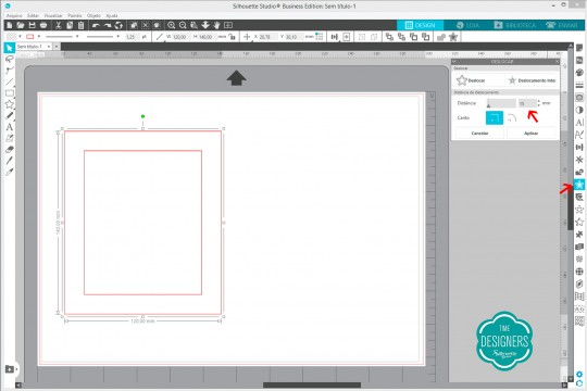 Configurando deslocamento no Silhouette Studio