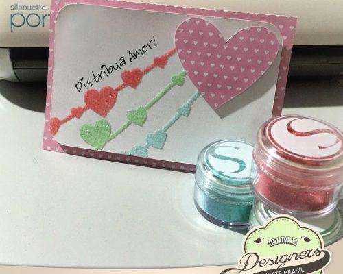 Cartão com glitter colorido