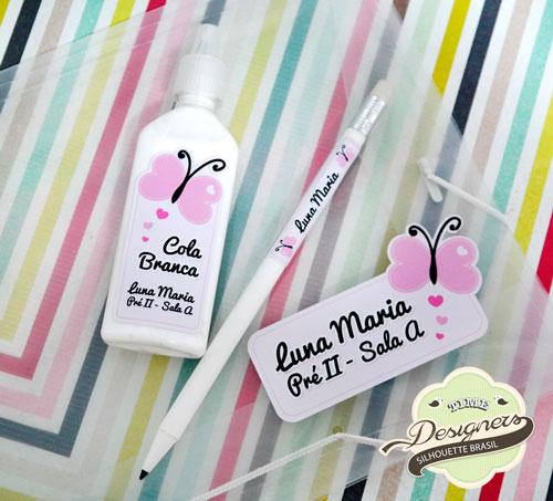 Dicas para Personalizar Material Escolar Etiquetas com borboletas