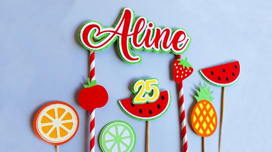 Festa Infantil Tema Frutas: Toppers Personalizados