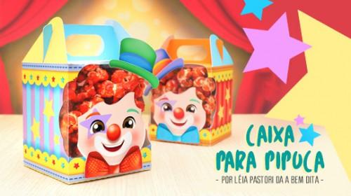 Lembrancinhas Tema Circo: caixa pipoca molde grátis