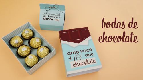 Molde de Caixa para Chocolates - Bodas 5 meses de Namoro