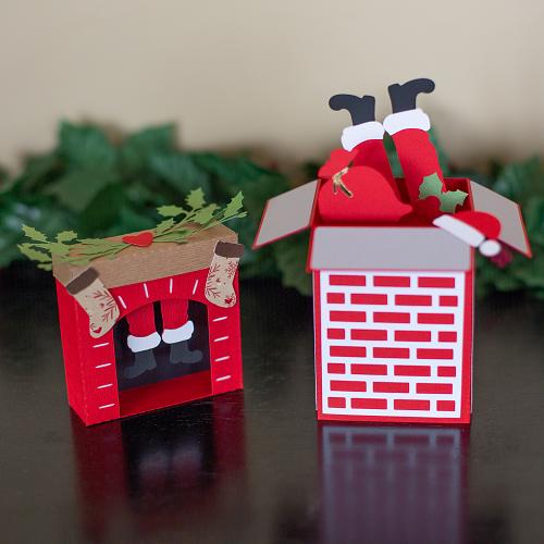 Ideias para enfeites de natal - decoração Silhouette caixa papai noel