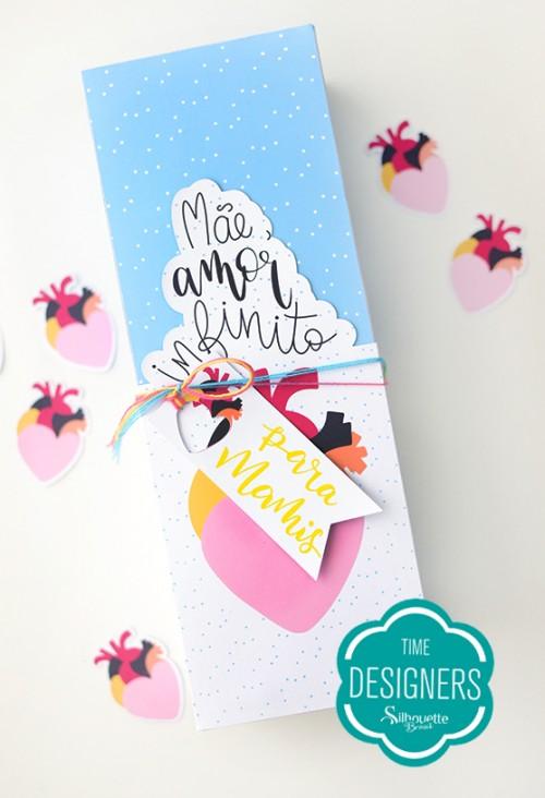 Caixa para Mini Vinho - mês das mães