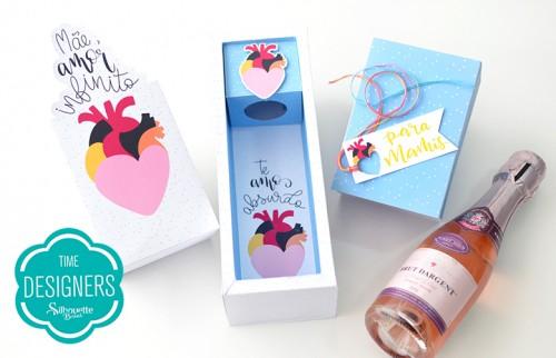 Caixa para Mini Vinho - presente especial dia das mães