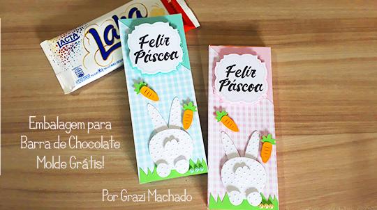 Embalagem para Barra de Chocolate – Molde Grátis