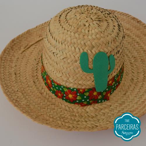 Cactos Colado - Chapéu de Palha Personalizado - Diy Festa Julina