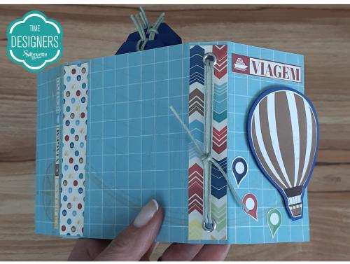 Fio Colorido no Ilhós Lateral - Como Fazer Vinco: DIY Mini Álbum de Scrapbook