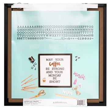Quadro Letreiro/Letterboard Moderno branco com preto DCWV - 40x40cm - 188 letras - Materiais para Scrapbook: Equipamentos, Ferramentas, Insumos