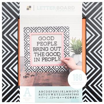 Quadro Letreiro/Letterboard rosa com preto DCWV - 30x30cm - 188 letras - Materiais para Scrapbook: Equipamentos, Ferramentas, Insumos