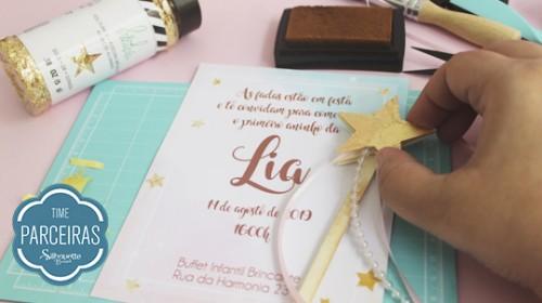 DIY Convite de Aniversário Infantil - C/ Efeito Metalizado - Varinha Aplicada no Convite