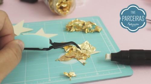 DIY Convite de Aniversário Infantil - C/ Efeito Metalizado - Colando o Foil na Estrela
