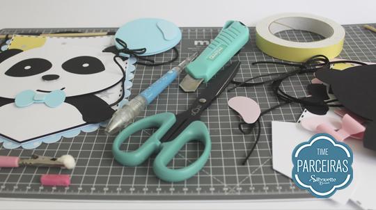 Materiais com shape impresso da Flâmula Panda para Chá Revelação