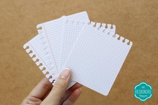 Desenho de folhas de caderno pautado arrancadas do espiral
