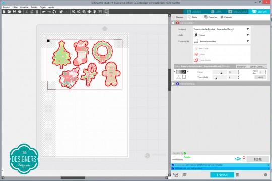 Teste as configurações de corte do Studio