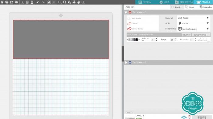 Abra o Silhouette Studio e configure o corte do vinil adesivo