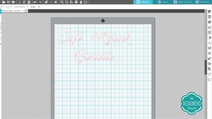 Abra o arquivo grátis do nome do pote de vidro no Sillhouette Studio