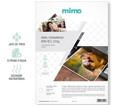 Papel Fotografico A Prova de Agua Mimo - Alto Brilho A4 20fls 250gr