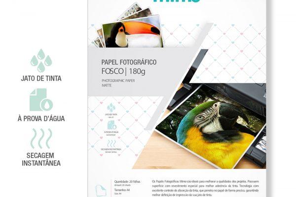 Papel Fotográfico a Prova de Agua Mimo - Fosco A4 50fls 180g