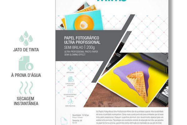 Papel Fotográfico Ultra Profissional - Semi brilho - A4 10 Fls 200g
