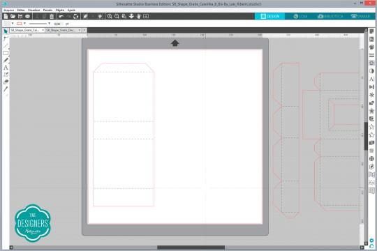 Coloque as partes da tampa da caixa na sua página do Silhouette Studio