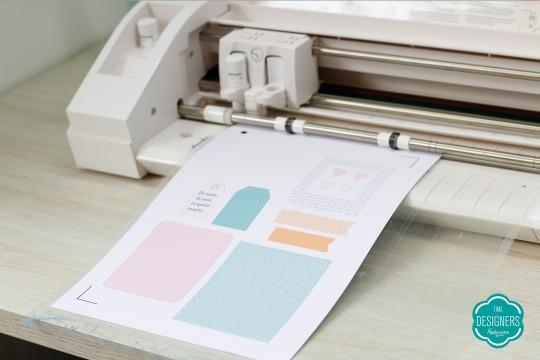Após imprimir as peças da decoração da caixa, corte-as na Silhouette