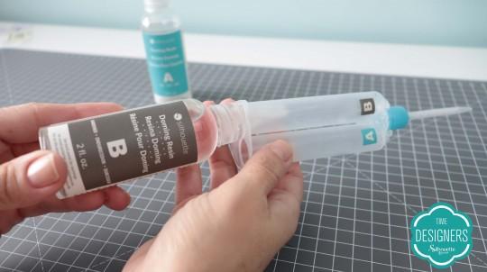 Coloque mesma quantidade produto B parte B seringa