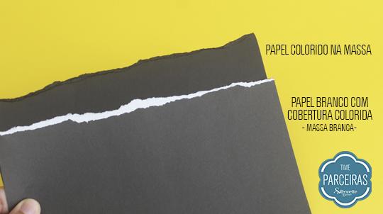 Comparação papel comum x colorido massa