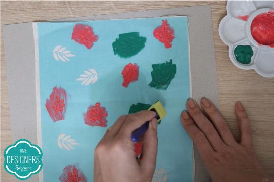 Pinte tecido stencil tintas silhouette