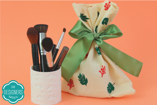 Porta-pincel maquiagem embalagem presente tecido feita stencil prontos