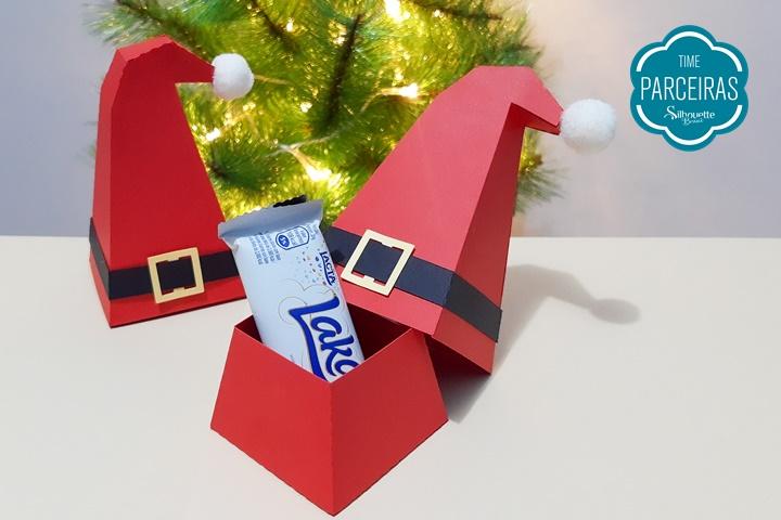 Caixa de Natal Gorro Papai Noel - Molde Grátis
