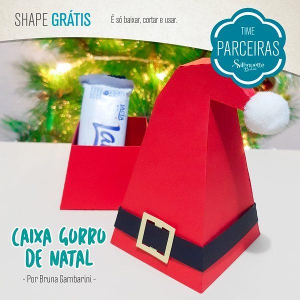 Caixa de Natal Gorro Papai Noel - Molde Gráti